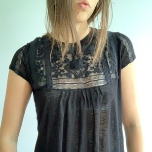 BLACK EMBROIDERED SHEER GYPSY TOP